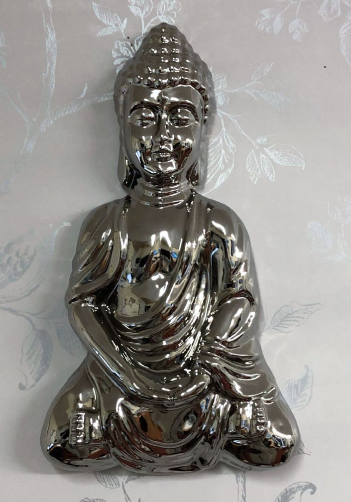 Mirrored 28cm Meditation Buddha Home | Garden Wall Art